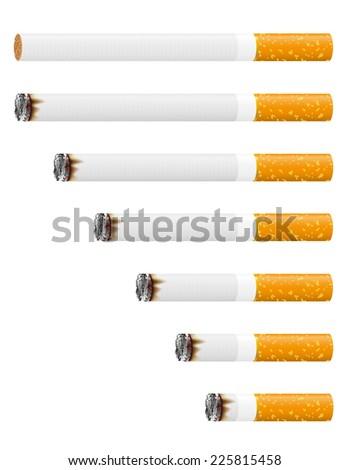 smoldering cigarette vector illustration isolated on white background - stock vector