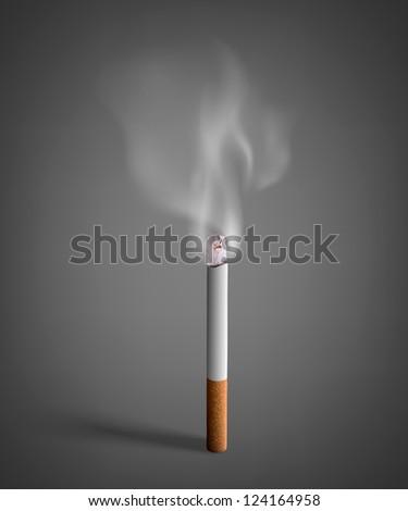 smoldering cigarette with a smoke - stock vector