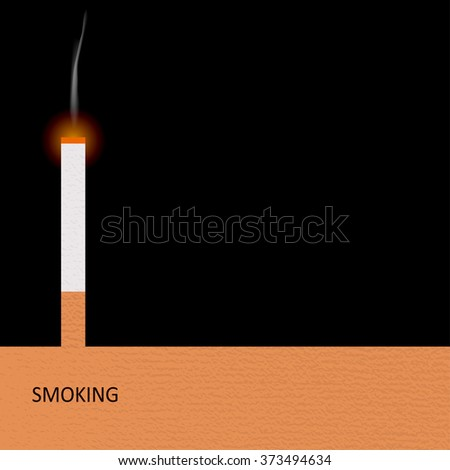 Smoldering cigarette with a smoke. May 31st World No Tobacco Day poster. Poison of cigarette. Vector. Illustration.