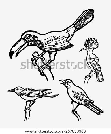 Smooth, clean, and detail bird sketches vector set 2. Good use for sticker design, symbol, icon, illustration, or any design you want. Easy to use, edit, or change color. Each object is a group.  - stock vector