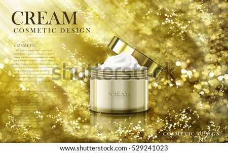 smooth cosmetic cream contained in a golden jar, full golden powder backgrounds in 3d illustration