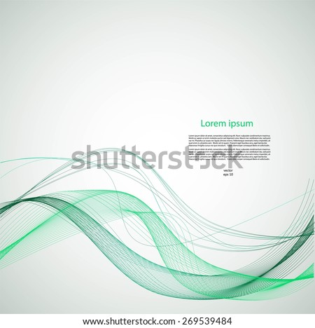 Smooth green lines with text - stock vector