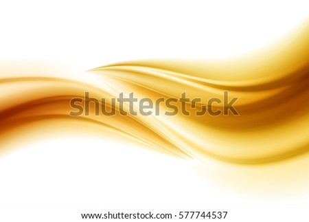 Smooth light gold waves line. Beautiful Gold Satin. Drapery Background. Vector Illustration