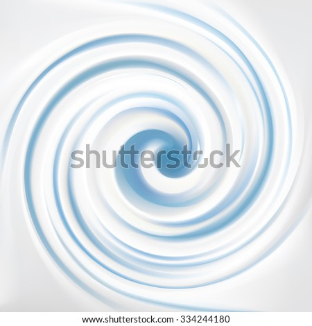 Smooth silk shine silver color fond with light cyan stripes. Pure creme ripply curvy mixture pattern. Closeup view with space for text in middle of funnel  - stock vector
