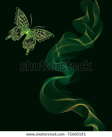Smooth wave and butterfly. EPS10. Vector Background - stock vector