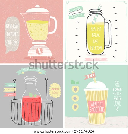 Smoothie cards - Hand drawn style. Vector illustration. - stock vector