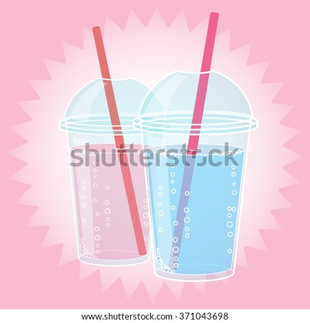 Smoothie design in pop art style comic style vector illustration. Glass of drink with tubule. Retro illustration of bubble tea or milkshake. Can be used for party invitations or menu.
