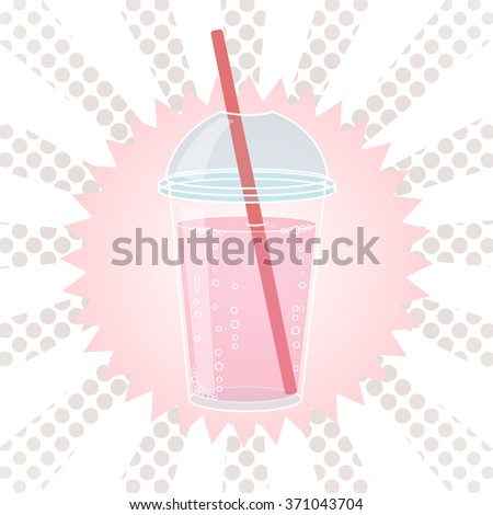 Smoothie design in pop art style comic style vector illustration. Glass of drink with tubule. Retro illustration of bubble tea or milkshake. Can be used for party invitations or menu.  - stock vector