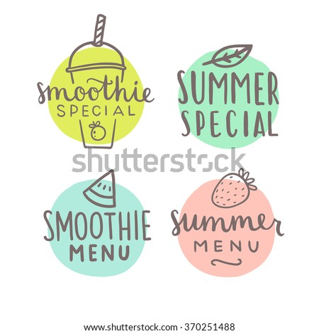 Smoothie special hand drawn badges. Vector illustration - stock vector