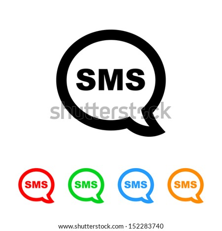 SMS Cell Phone Text Message Icon - stock vector