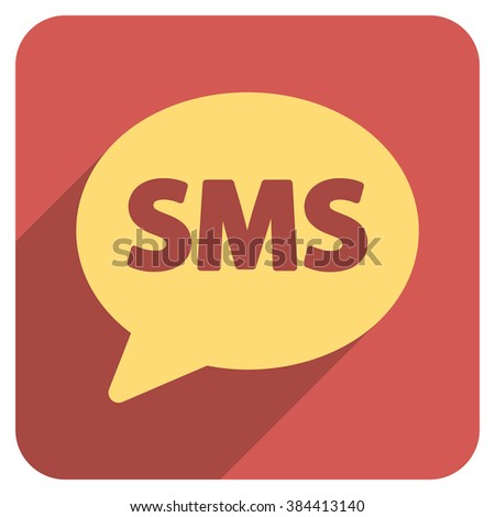 SMS long shadow vector icon. Style is a flat symbol on a red rounded square button. - stock vector