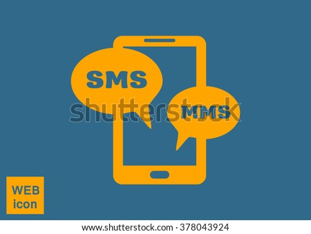 sms on mobile phone, web icon. vector design