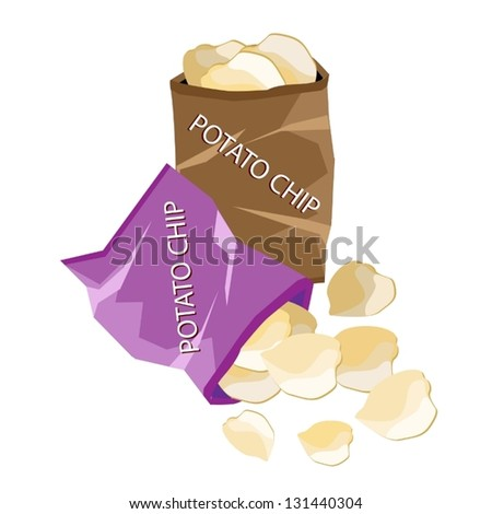 Snack Food, An Illustration of A Golden Potato Chips in Bag Isolated on A White Background - stock vector