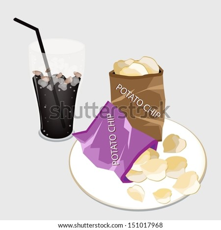Snack Food, An Illustration of A Golden Potato Chips in Bag with A Glass of Iced Coffee or Cola Dink  - stock vector