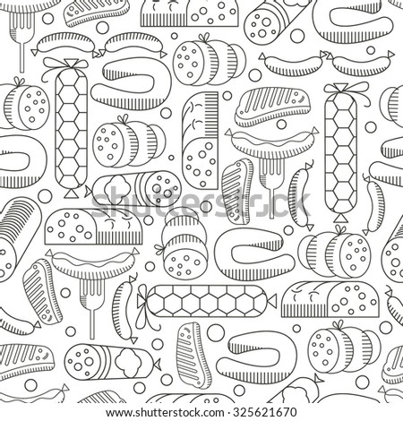 Snack, Sausages vector seamless pattern. Use the menu template design element, websites, invitations