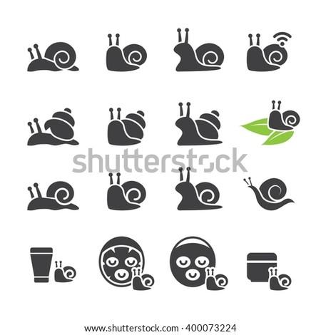 snail icon set - stock vector