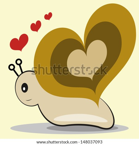 snail love, heart-shaped carapace, and floating red hearts on white background.