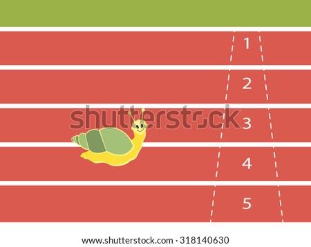 Snail running on red rubber track, vector illustration. - stock vector