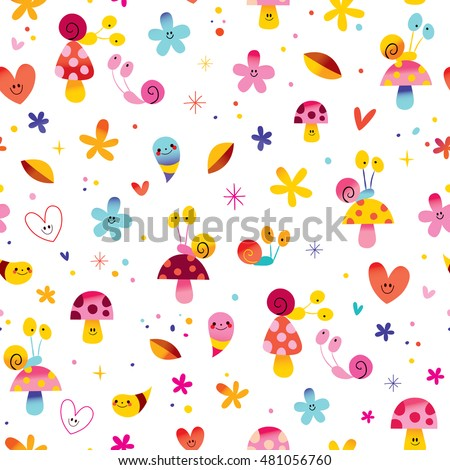 snails mushrooms flowers hearts cute little characters nature seamless pattern