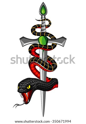 snake and dagger - stock vector