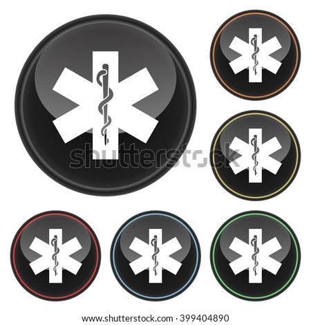 Snake and Staff Healthcare Icon Glossy Button Icon Set in With Various Color Highlights - stock vector