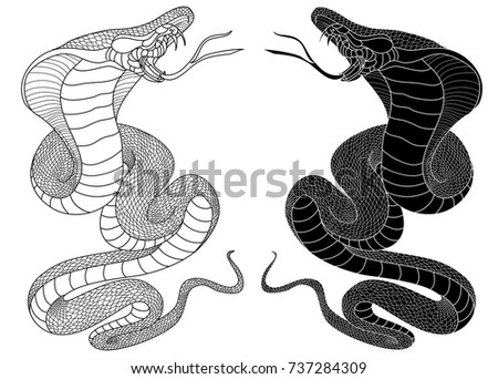 Snake cobra illustration for sticker and tattoo design asia tattoo style silhouette and outline