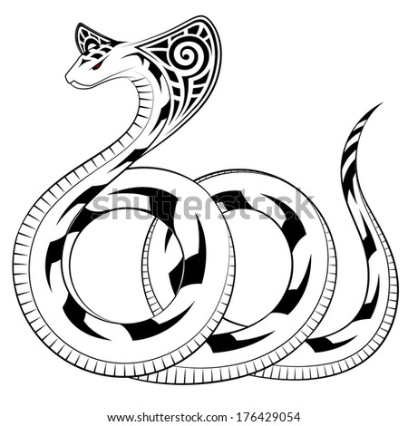 Snake, Cobra in the form of a tribal tattoo - stock vector