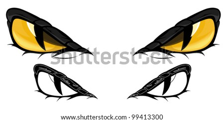snake eyes vector illustration - in color and monochrome - stock vector