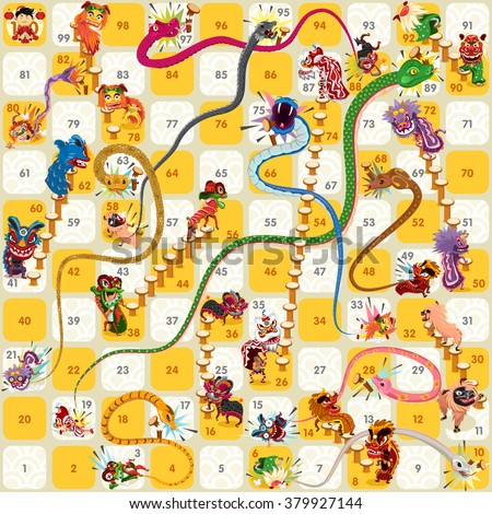 Snake Ladder Chinese New Year Vector Game Assets