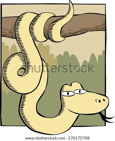 Snake on a branch - stock vector