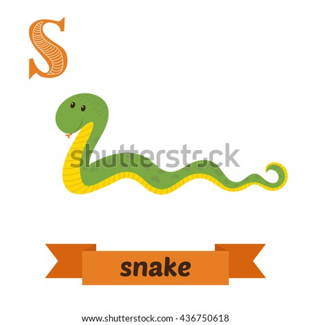 Snake. S letter. Cute children animal alphabet in vector. Funny cartoon animals. Vector illustration