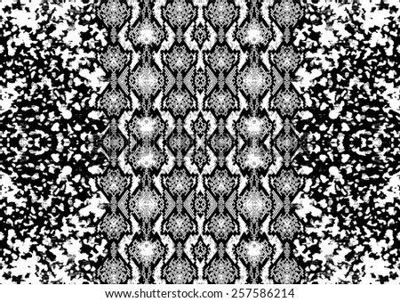 Snake skin pattern with abstract background,mix skins in vector  - stock vector