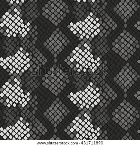 Snake skin seamless vector texture. Gray tone colors snake pattern ornament for textile fabric. Artificial reptile leather pattern.