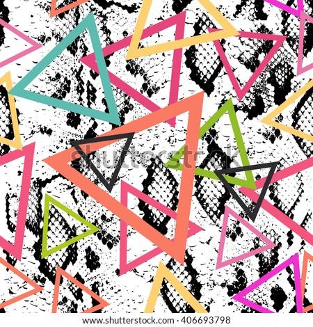 Snake skin texture seamless pattern. black magenta orange pink purple blue print, Geo ethnic modern trendy Geometric abstract background fashion creative art print for design site blog fabric. Vector - stock vector