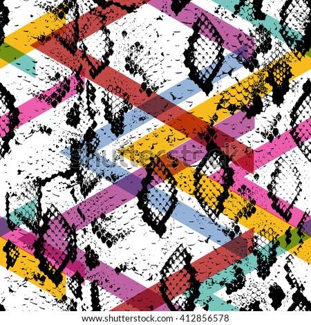 Snake skin texture seamless pattern. black magenta orange pink purple lilac green stripes, Geo ethnic modern trendy Geometric abstract background fashion art print for design site blog textile. Vector - stock vector