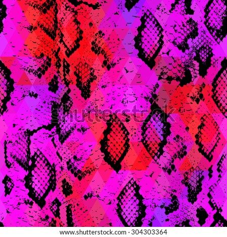 Snake skin texture  with colored rhombus. Geometric background. Seamless pattern black lilac pink red background, colorful psychedelic geometric mosaic ornament triangle. Vector - stock vector