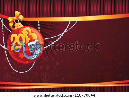 Snake - The symbol of  New Year 2013. New Year's background with copy space. Illustration created in Adobe Illustrator. Image contains gradient, dosn't contain transparencies. EPS 8. - stock vector