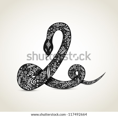 Snake with ornaments, zodiac sign, vector - stock vector