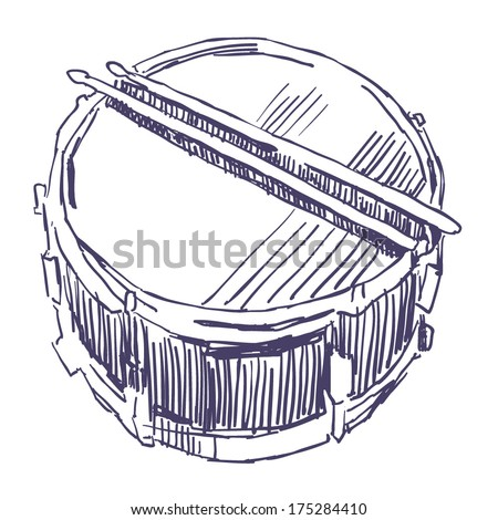 Snare Drum And Sticks Sketch Drawing Isolated On White Background