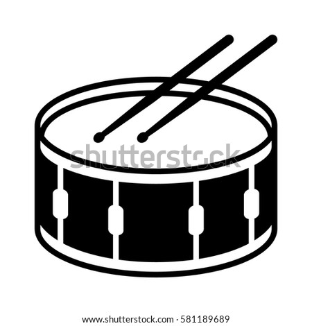 Snare Drum Or Side With Drumsticks Musical Instrument Flat Vector Icon For Music Apps And