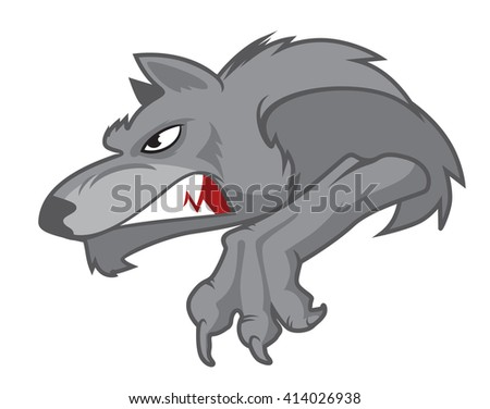 snarling wolf  mascot vector - stock vector