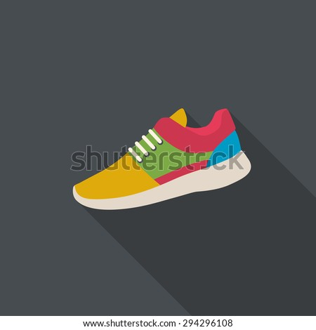 Sneaker flat design with long shadow. - stock vector