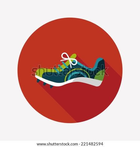 sneaker flat icon with long shadow,eps10 - stock vector