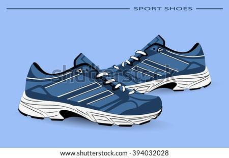 Sneaker Sport Running Shoe Flat Icon Vector Illustration - stock vector