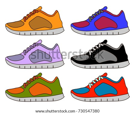 Sneaker Sport Shoe Color Flat Icon Symbol Set Collection. Flat design Vector Illustration