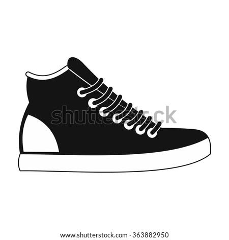 Sneakers black simple icon isolated on white background - stock vector