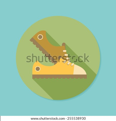 Sneakers. Flat icon with long shadow. EPS10 - stock vector