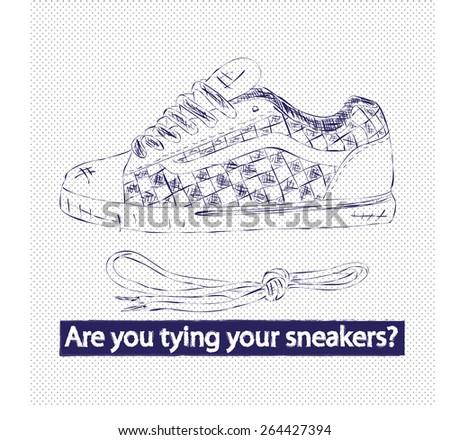 Sneakers Hand drawn - stock vector