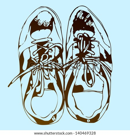 Sneakers hand drawn sketch on blue background, vector illustration - stock vector