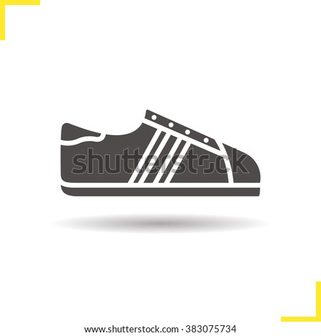 Sneakers icon. Drop shadow bowling shoes icon. Modern sport footwear. Urban fashion shoes. Isolated sneaker black illustration. Tennis shoes. Sneaker logo concept. Vector silhouette sneaker symbol - stock vector